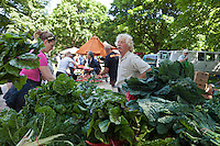Farmer Ted Thorpe surronded by his organically grown chard and kale at the Dufferin Grove organic farmers market in Toronto.