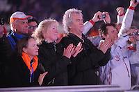 OLYMPICS: SOCHI: Medal Plaza, 19-02-2014, Men 10.000m, Japke en Anne Bergsma (ouders Jorrit Bergsma), ©photo Martin de Jong
