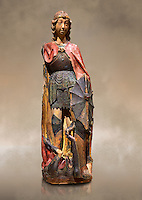 Gothic terracotta statue of the Archangel Gabriel attributed to Lorenzo Mercadante de Bretanya of Seville, circa 1460, from the convent of Santa Clara de Fregenal de la Sierra, Badajoz..  National Museum of Catalan Art, Barcelona, Spain, inv no: MNAC  4367. Against a art background.