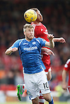 Aberdeen v St Johnstone...03.10.15   SPFL   Pittodrie, Aberdeen<br /> David Wotherspoon and Adam Rooney<br /> Picture by Graeme Hart.<br /> Copyright Perthshire Picture Agency<br /> Tel: 01738 623350  Mobile: 07990 594431