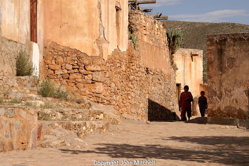 Typical street in the ghost town of Cerro de San Pedro, San Luis Potosi state, Mexico