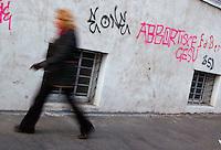 Scritta antiabortista su un muro in occasione della campagna elettorale..Written against abortion on a wall during the election campaign..
