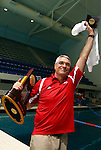 24 MAR 2012:  Denison University men's coach Gregg Parini celebrates after winning the national championship at the Division III Mens and Womens Swimming and Diving Championship held at the IU Natatorium in Indianapolis, IN.  Michael Hickey/NCAA Photos