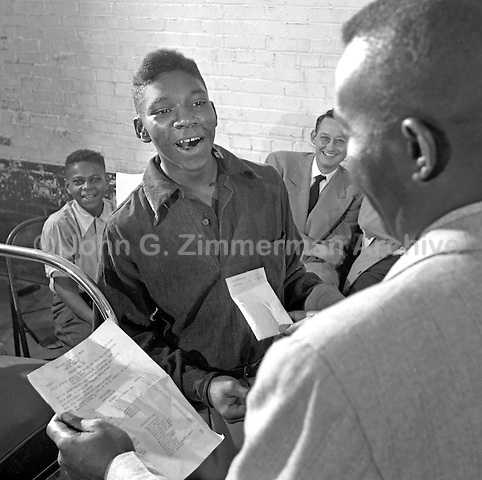 Curtis Phillips wins first prize at the Wilson Shoeshine Contest, Wilson North Carolina, 1952. Photo by John G. Zimmerman.