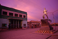 Statue honoring rail worker in the main avenue of Uyuni, Bolivia.