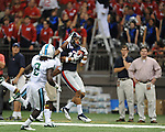 Ole Miss wide receiver Donte Moncrief (12) makes a touchdown catch vs. Tulane's Darryl Farley (34) in the first half at the Mercedes-Benz Superdone in New Orleans, La. on Saturday, September 22, 2012. Ole Miss won 39-0...