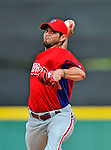 9 March 2012: Philadelphia Phillies pitcher Joel Pineiro on the mound during a Spring Training game against the Detroit Tigers at Joker Marchant Stadium in Lakeland, Florida. The Phillies defeated the Tigers 7-5 in Grapefruit League action. Mandatory Credit: Ed Wolfstein Photo