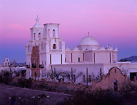 San Xavier Reservation, AZ  <br /> San Xavier del Bac Mission in pre-dawn pastel light