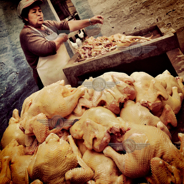 Chickens being cleaned and prepared for sale at a small independent shop which sells hundreds of chickens every week.