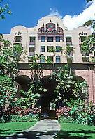 Honolulu: Royal Hawaiian Hotel, Facade. Warren and Wetmore, Architects. Photo '82.