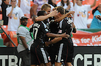 DC United forward Danny Allsopp (9) celebrates his second goal in the minute 34th of the game with team mates.  DC United defeated The Kansas City Wizards  2-0 at RFK Stadium, Wednesday  May 5, 2010.