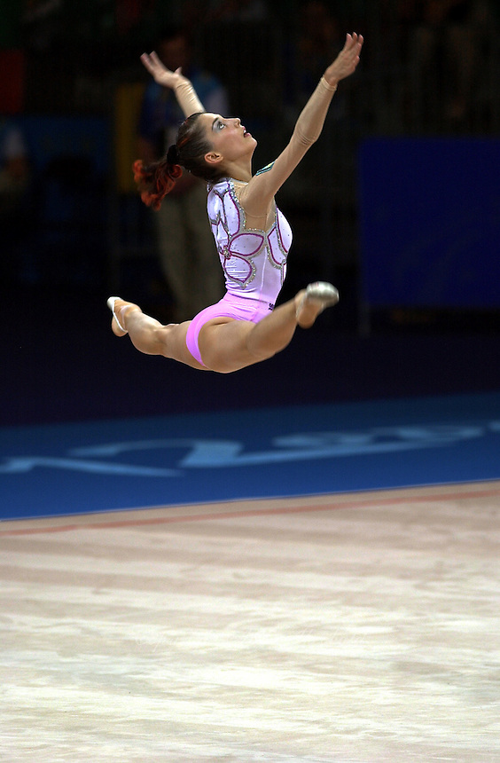 Sep 29, 2000; SYDNEY, AUSTRALIA:<br /> Elena Vitrichenko of Ukraine performs with ball during rhythmic gymnastics qualifying at 2000 Summer Olympics.