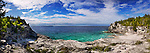 Panoramic scenery of a rocky beach of Georgian Bay, lake Huron at Bruce Peninsula National Park, Ontario, Canada