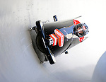 15 December 2007: Austria 2 pilot Juergen Loaker with brakeman Juergen Loaker exit a turn during their first run at the FIBT World Cup Bobsled Competition at the Olympic Sports Complex on Mount Van Hoevenberg, at Lake Placid, New York, USA. ..Mandatory Photo Credit: Ed Wolfstein Photo