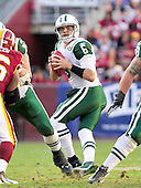 New York Jets quarterback Mark Sanchez (6) looks to throw in the third quarter against the Washington Redskins at FedEx Field in Landover, Maryland on Sunday, December 4, 2011.  The Jets won the game 34 - 19..Credit: Ron Sachs / CNP.(RESTRICTION: NO New York or New Jersey Newspapers or newspapers within a 75 mile radius of New York City)