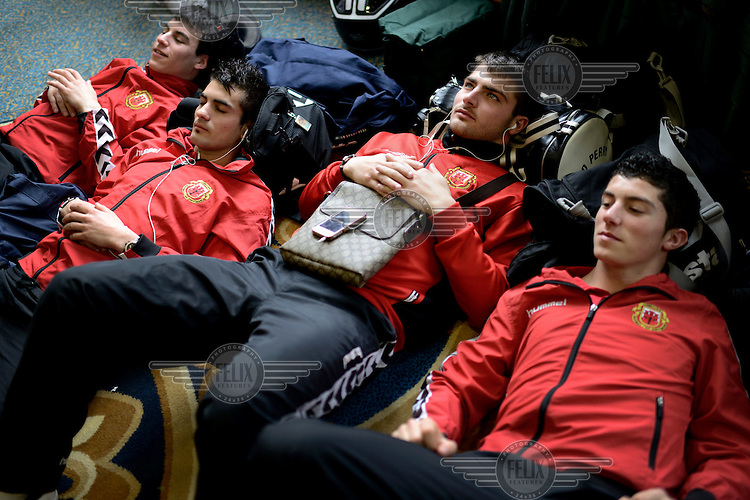Players from the Gibraltarian under-17 national team  relax at their hotel prior to a match against Northern Ireland played in March 2013. Although the United Nations doesn't recognise Gibraltar as an independent country, UEFA has recognised it and has granted the British Overseas Territory full UEFA membership.
