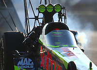 Jul 9, 2016; Joliet, IL, USA; NHRA top fuel driver J.R. Todd during qualifying for the Route 66 Nationals at Route 66 Raceway. Mandatory Credit: Mark J. Rebilas-USA TODAY Sports