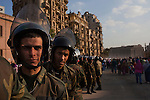 The Egyptian military soldiers deploy to a new position as Egyptians continue to celebrate in Tahrir Square February 12, 2011 in Cairo, Egypt. The day after the revolution toppled the regime of President Hosni Mubarak, Egyptians continued to celebrate and began to focus on rebuilding their country and society. (Photo by Scott Nelson)