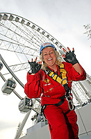 25/08/'10 Teena Gates, Head of News at 98FM pictured   at the Wheel of Dublin at the O2 this morning after abseiling the 60 meters down from the top of the Wheel. After climbing her own personal mountain, recovering from illness, chronic back pain and loosing 10 stone in 12 months, Teena is heading to Mount Everest Base Camp this October as part of a celebrity fundraiser for the Hope Foundation and street kids in Calcutta....Picture Colin Keegan, Collins, Dublin.