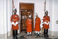 Ceremonial guards at Rashtrapati Bhavan, Presidential House, in New Delhi, India