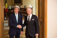 John Kerry meets with King Philippe of Belgium, after Brussels terrorist attacks - Belgium