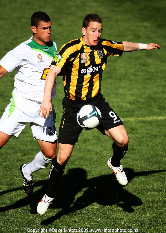 Phoenix' Chris Greenacre controls the ball during the A-League football match between Wellington Phoenix and North Queensland Fury at Westpac Stadium, Wellington, New Zealand on Sunday, 16 August 2009. Photo: Dave Lintott / lintottphoto.co.nz