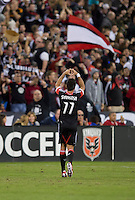 Marcelo Saragosa (11) of D.C. United celebrates his goal during the game at RFK Stadium in Washington, DC.  D.C. United defeated the Columbus Crew, 3-2.