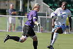 7 November 2007: Clemson goalkeeper Ashley Phillips (1) gives up a rebound goal to North Carolina's Jaime Gilbert (5) in the first half. The University of North Carolina defeated Clemson University 3-0 at the Disney Wide World of Sports complex in Orlando, FL in an Atlantic Coast Conference tournament quarterfinal match.