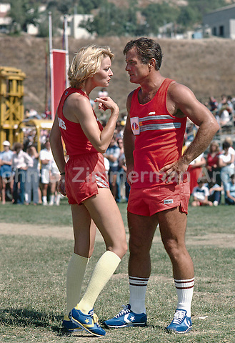 Actress Randi Oakes and Actor Robert Conrad at the Battle of the Network Stars, Pepperdine University, Pepperdine CA. November, 1979. Conrad was NBC's team captain for the event for 6 years. Photo by John G. Zimmerman.