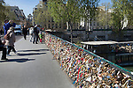 Archbishop's Bridge, Pont de L'Archeveche. covered in locks, Paris, France