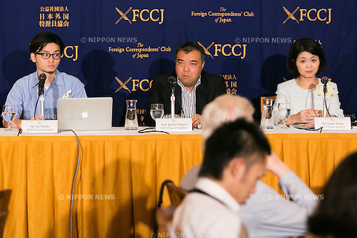 (L to R) Aki Okuda of SEALDs, Koichi Nakano of Save Constitutional Democracy Japan and Association of Scholars Opposed to the Security-Related Laws and Utako Nagao of Mothers Against War speak during a news conference at the Foreign Correspondents' Club of Japan on June 17, 2016, Tokyo, Japan. The leaders of these groups who oppose Prime Minister Shinzo Abe's security shifts made an alliance with opposition parties and independent candidates ahead of July's House of Councillors elections. They hope to encourage more people to vote especially 18 and 19 year-old citizens who are allowed to vote for the first time this year. (Photo by Rodrigo Reyes Marin/AFLO)