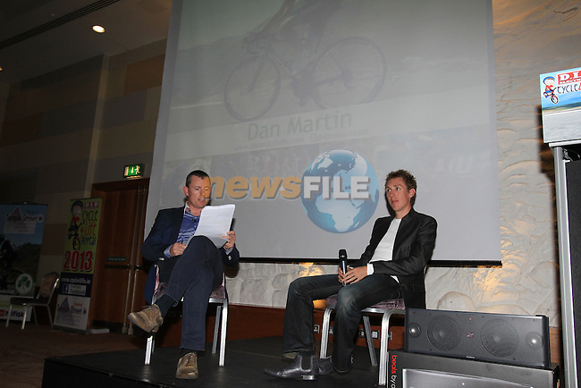 Irish professional cyclist Daniel Martin (Garmin-Sharp) lends his support to Cycle4Life charity in aid of Temple Street Children's Hospital at a talk given by Dan in the Crowne Plaza Hotel, Blanchardstown, Dublin 1st November 2012 (Photo Eoin Clarke/www.newsfile.ie)
