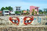 Puerto Limon, Costa Rica, Malecon, Waterfront Sidewalk, Graffiti