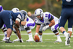 8 October 2016: Amherst College Purple & White Offensive Lineman Austin Park, a Senior from Pittsburgh, PA, centers against the Middlebury College Panthers at Alumni Stadium in Middlebury, Vermont. The Panthers edged out the Purple & While 27-26. Mandatory Credit: Ed Wolfstein Photo *** RAW (NEF) Image File Available ***