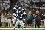 Ole Miss linebacker Denzel Nkemdiche (4) and Ole Miss defensive back Dehendret Collins (1) celebrate stopping Tulane on 4th and goal in the first half at the Mercedes-Benz Superdone in New Orleans, La. on Saturday, September 22, 2012. Ole Miss won 39-0...