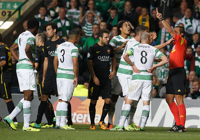 Scott Brown gets a straight red card from referee Stephane Lannoy