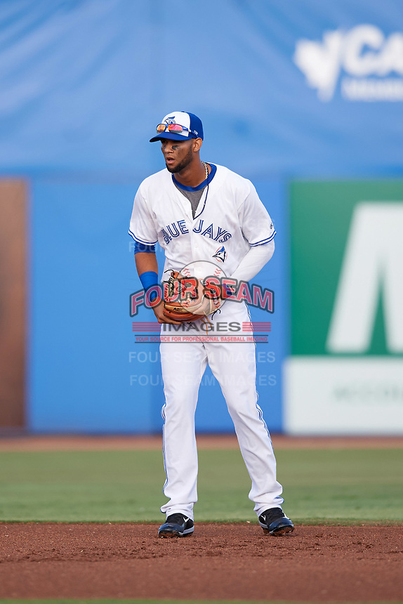 Dunedin Blue Jays shortstop Lourdes Gurriel (13) in the field during a game against the St. Lucie Mets on April 19, 2017 at Florida Auto Exchange Stadium in Dunedin, Florida.  Dunedin defeated St. Lucie 9-1.  (Mike Janes/Four Seam Images)