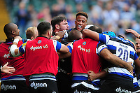 Anthony Watson of Bath Rugby celebrates scoring a try with team-mates. Aviva Premiership match, between Bath Rugby and Worcester Warriors on September 17, 2016 at the Recreation Ground in Bath, England. Photo by: Patrick Khachfe / Onside Images