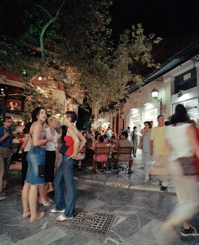 Young Athenians enjoying the  nightlife, Athens, Greece