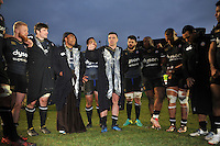 George Ford of Bath Rugby speaks to his team-mates in a post-match huddle. European Rugby Challenge Cup match, between Bath Rugby and Pau (Section Paloise) on January 21, 2017 at the Recreation Ground in Bath, England. Photo by: Patrick Khachfe / Onside Images