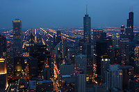 View from the John Hancock Center at dusk looking south over Chicago