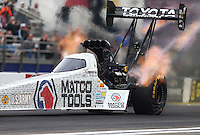 Feb 10, 2017; Pomona, CA, USA; NHRA top fuel driver Antron Brown during qualifying for the Winternationals at Auto Club Raceway at Pomona. Mandatory Credit: Mark J. Rebilas-USA TODAY Sports