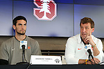 12 December 2015: Clemson head coach Mike Noonan (right) with Andrew Tarbell (left). The NCAA held a press conference at Three Points at the Sporting Kansas City offices one day before the Clemson University Tigers play the Stanford University Cardinal in a 2015 NCAA Division I Men's College Cup championship match.