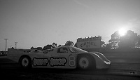 #8 Porsche 962 of A.J. Foyt and Bob Wollek at sunset at the 12 Hours of Sebring, at Sebring Raceway, Sebring, FL, March 23, 1985.  (Photo by Brian Cleary/www.bcpix.com)