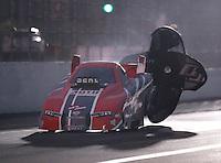 Nov 12, 2016; Pomona, CA, USA; NHRA funny car driver Brandon Welch during qualifying for the Auto Club Finals at Auto Club Raceway at Pomona. Mandatory Credit: Mark J. Rebilas-USA TODAY Sports