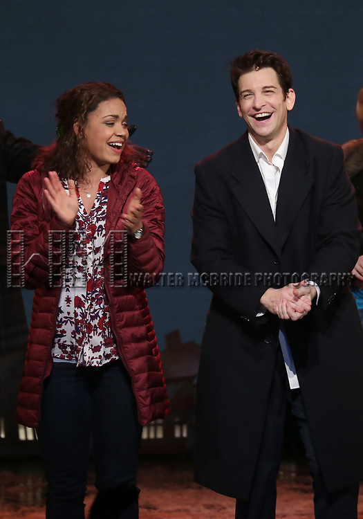 Barrett Doss and Andy Karl during the Broadway Opening Night Curtain Call Bows for 'Groundhog Day' at August Wilson Theatre on April 17, 2017 in New York City.