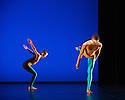 """Michael Clark Company in a piece set to """"Albatross"""" by Public Image Limited, at the Barbican. Dancers are: Harry Alexander, Julie Cunningham, Melissa Hetherington, Oxana Panchenko, Daniel Squire and Benjamin Warbis.  Picture shows: Julie Cunningham and Harry Alexander. Photograph © Jane Hobson."""