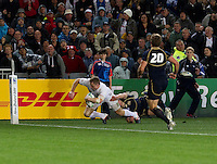 Rugby World Cup Auckland England v Scotland  Pool B 01/10/2011. Chris Ashton scores England's only try (England)    .Photo  Frey Fotosports International/AMN Images