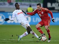 FUSSBALL   1. BUNDESLIGA  SAISON 2012/2013   16. Spieltag FC Augsburg - FC Bayern Muenchen         08.12.2012 Knowledge Musona (li, FC Augsburg) gegen Franck Ribery (FC Bayern Muenchen)
