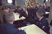United States President George W. Bush visits with some of the crewmembers aboard the USCG Tahoma in Portland, Maine, Friday, January 25, 2002..Mandatory Credit: Eric Draper - White House via CNP.